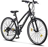 Licorne Bike Premium Trekking Bike in 28 pollici – Bicicletta per ragazzi, ragazze, donne e uomini – cambio Shimano 21 marce – Mountain Bike – Cross Bike – Life -L-V – Nero/Rosa