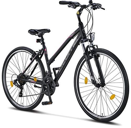 Licorne Bike Bici da trekking, da 28 pollici, per ragazzi, ragazze, donne e uomini, con cambio Shimano a 21 marce, Life M-V, Bambina, nero/rosa, 28 inches