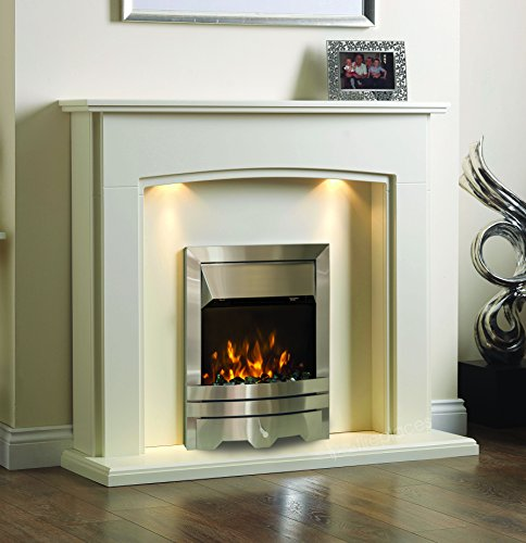 """Electric Cream Ivory Silver Coal Pebble 2KW Flame Fire Wall Surround LED Fireplace Suite Lights Downlights 48"""""""