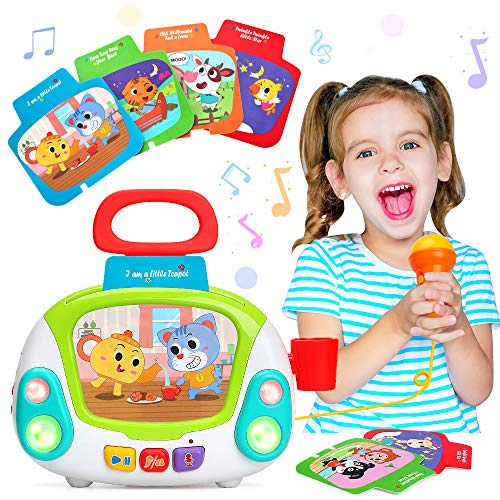 LUKAT Musical Toy for 2 3 4 Years Old Boys & Girls, Karaoke Microphone Music Player with Singing Recording & Voice Changing Function Learning Educational Jukebox Gift Toy for Baby Kid 24+ Months