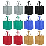 Lawei 12 pack Reusable Grocery Bags - Heavy Duty Shopping Bags with Handle, Grocery Tote Bags in 6 Color