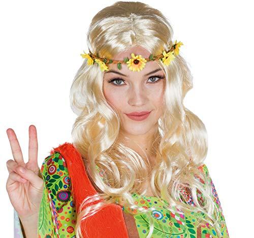 Rubie's Damen Perücke Hippie Flower Power mit Blumen-Haarband Kostüm-Zubehör Fasching blond, braun (blond)