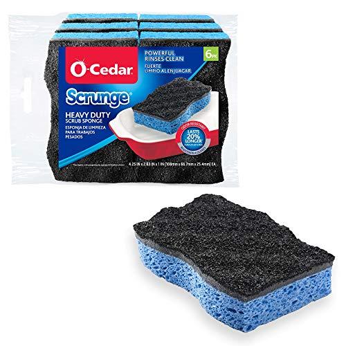 O-Cedar Scrunge Heavy-Duty Scrub Sponge (Pack of 6) | Odor-Resistant, Multi-Surface Scrubbing Sponge...
