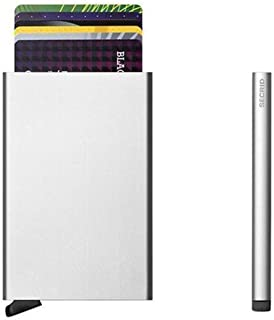 Reddot Award winning Card Protector, Very Slim Credit Card Holder / wallet with RFID protection, with one click all 6 cards slide out gradually - Silver