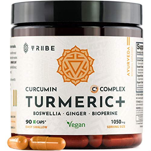 Tribe Organics, 1050mg Turmeric Curcumin C3 Complex with Boswellia, Ginger, Bioperine to Support Inflammation, Mood, Joints and Brain Function - All Natural, Pure, Vegan, Full Spectrum - 90 Capsules