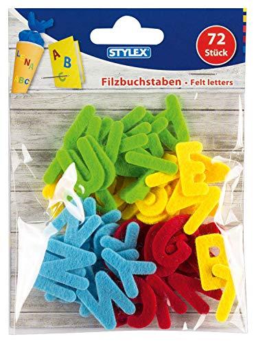 Stylex 46458 - Buchstaben aus Filz, mit dem kompletten ABC, 72 Stück sortiert in verschiedenen Farben, ideal für Bastelarbeiten, als Tischdeko und für den Schulanfang