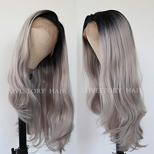 Lovestory Ombre Grey Natural Straight Lace Front Wig Heat Resistant Long Straight Synthetic Hair Wigs For Women 180 Density 24 inch