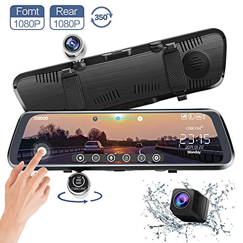 CHICOM Mirror Dash Cam, V33 10 Inch Full Touch Screen 350 Degrees 1080P Rotating Front Camera + 1080P Rear View Dual Recording Stream Media Dashboard Camera Car DVR Recorder