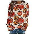 TIANMING Women Casual Pullover Halloween Pumpkin Print Sweatshirts Sweaters Long Sleeve Loose Shirts Fall Blouse Top