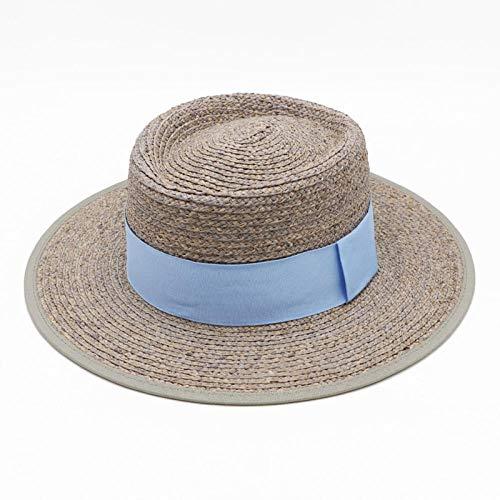 Sombreros De Paja Gorra De Mujer Sombrero De Paja para Navegantes Sombreros De Mujer Sombreros Elegantes Hombres Sombrero De Sol De Playa De ala Ancha-Gris