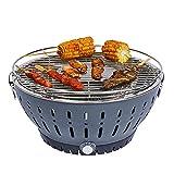 XIJING Parrilla de Barbacoa de carbón portátil/Estufa de Barbacoa sin Humo con Ventilador a batería, alimentada por batería/Recarga USB para Interiores y Exteriores