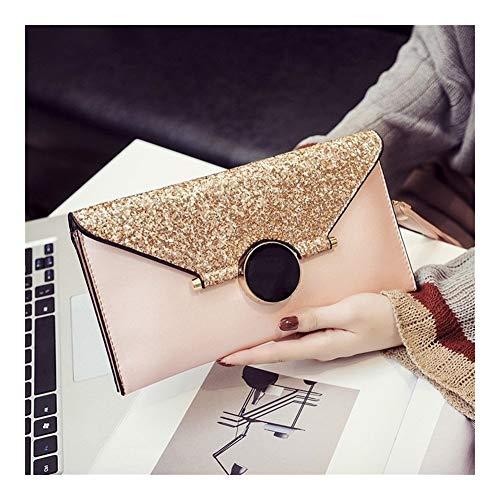 TEYUN - Bolsa de mano para cadena de cena, cadena de cierre, bolsa de lentejuelas (color: rosa)