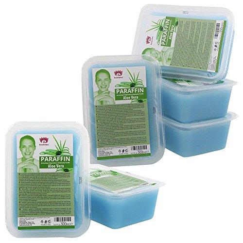 Kosmetex Paraffin-wachs, Paraffinbad Wachs mit niedrigeren Schmelzpunkt mit Aloe Vera Extrakt, 6x 500ml Aloe Vera