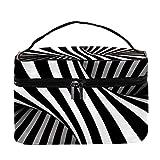 Desheze - Estuche de maquillaje portátil cuadrado multifuncional para mujer, bolsa de almacenamiento de tren, ilusión óptica, 8,9 x 15 x 13,7 cm