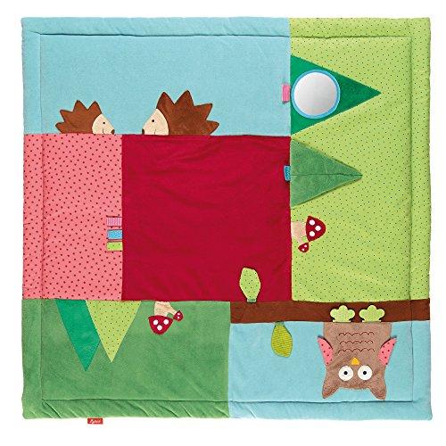 sigikid, 41529 Enfant Mixte Tapis d'Eveil Microfibre 100x100 cm, PlayQ Forêt Multicolore