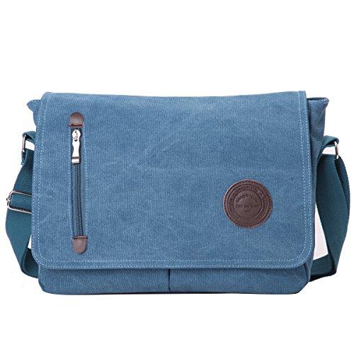 Eshow borsa a tracolla da uomo di tela messenger stile retro'per l'uso quotidiano della scuola outdoor Trekking