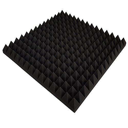 Pannello in schiuma fonoassorbente, pannelli acustici con piramidi, isolamento 99 x 99 x 6 cm antracite/nero