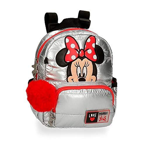 Disney Minnie My Pretty Bow Mochila Guardería Gris 19x23x8 cms Poliéster 3,5L