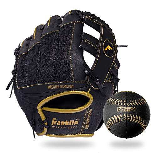 Franklin Sports Meshtek Teeball-Handschuh- und Ball-Set – Teeball-Handschuh und Schaumstoff-Baseball – schwarz/Gold – 24,1 cm rechte Hand Überwurf