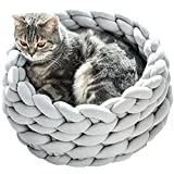 Chunky Braid Dog Bed,Chunky Cat House,Chunky Knitted,Pet Furniture,Handmade Cat Cave Bedding,Giant Knitted Cat Bed (Diameter-14inch, Light Grey)