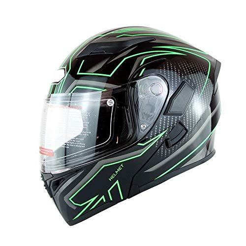 ChenTeShangMao Erwachsene Männer Und Frauen Schutzhelm Double Lens Elektro-Motorradhelm Atmungsaktiv Komfort 3D Gefütterter Helm - Grüne Streifen Gute Qualität (Size : L)