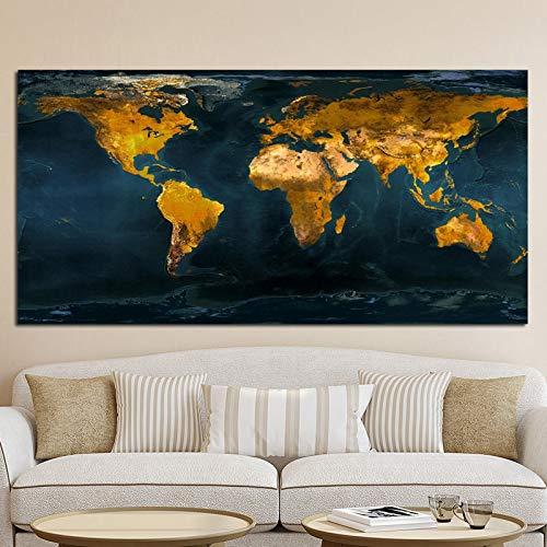 Pintura sin Marco Globo Vintage Mapa de Oro Cartel Abstracto Pintura al óleo y Lienzo Oficina Sala de Estar decoraciónCGQ5449 20X40cm