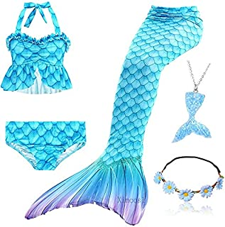 5Pcs/Set Girls Mermaid Tail Swimsuit Children The Little Mermaid Costume Cosplay Beach Clothes Bathing Suit (Color : Orang...
