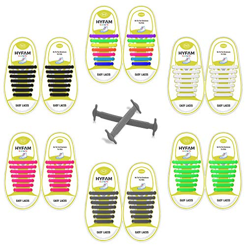 HYFAM No Tie Shoelaces 6 Pack for Kids Waterproof Elastic Silicone Tieless Shoe Laces for Sneakers Board Shoes Casual Shoes