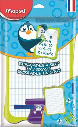 Maped - Kit Ardoise Blanche Effaçable + 1 Porte-Accessoires + 1 Brosse + 1 Feutre Ardoise - Ardoise Double Faces - Cadre Ardoise de Coloris Aléatoire Bleu, Vert