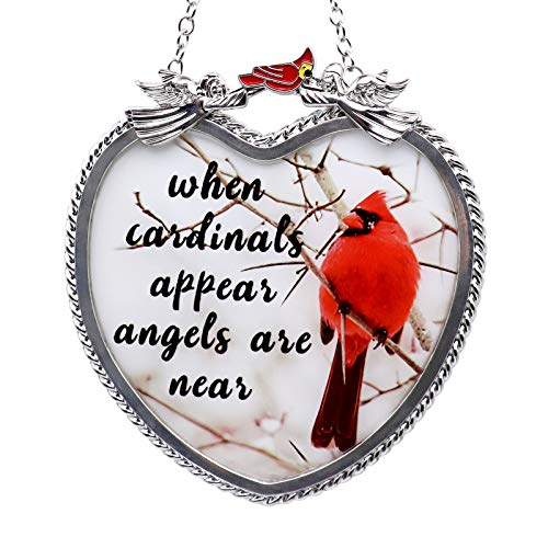 """Memorial Cardinal Sympathy Gifts Hanging Heart Design Handicraft Sun Catcher """"When Cardinals Appear Angels are Near"""" Saying Thanksgiving Christmas Condolence Gifts with Suction Cup"""