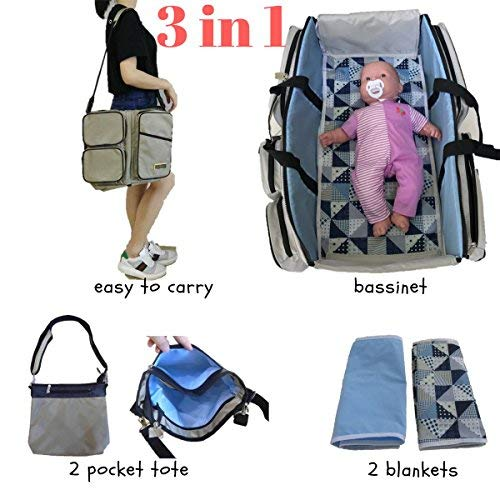Stylish Diaper Bag Set/Converts to Travel Bassinet/Baby Changing Bags | Includes 2 Sheets & Additional Bag for Added Storage | Best Nappy Bags for Boys or Girls Plus Bonus