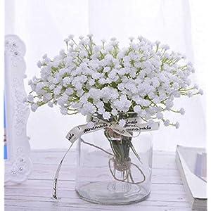 A Cup of Tea White Babys Breath Artificial Flowers Real Touch Fake Gypsophila Faux Plants for Wedding Garland Wreath Girl Crown Flower bonquet DIY Flores Arrangement Table Décor Centerpiece