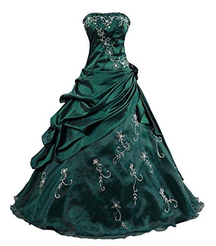 Kmformals Damen Ballkleid trägerlosen Prom Kleider Abendkleidung Größe 52 Smaragd Grün