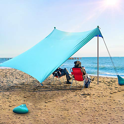 Pop Up Beach Tent Sun Shelter,HALSHI Beach Canopy Tent UPF50+ with Beach Mat,Ground Pegs and Stability Poles,Beach Shelter for Camping Trips, Fishing,Backyard Fun or Picnics (7x7 FT 2 Pole, Green)