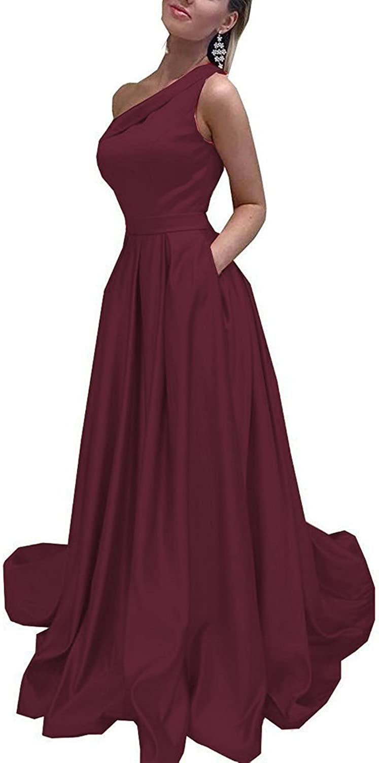 JQLD Women's One Shoulder Prom Dresses 2018 with Pocket Satin Evening Gown Formal Long