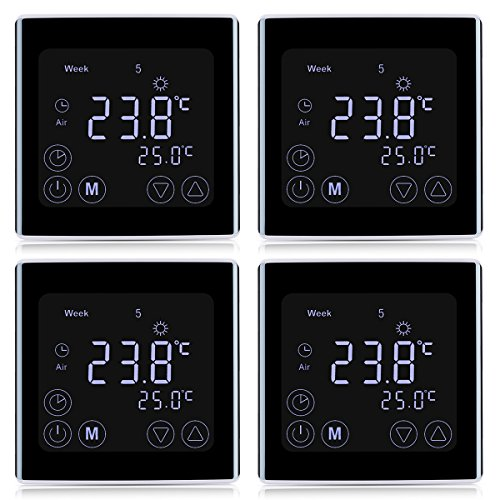 4x Floureon Raumthermostat BYC17.GH3 Thermostat LCD Touchscreen Mit weißer Hintergrundbeleuchtung Wandthermostat Digital Smart Programmierbares Heizkörper-Thermostat Fußbodenheizung
