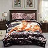 JML Fleece Blanket , 3- Pieces Sherpa Blanket - Super Soft Warm, Korean Style Reversible Printed Winter Borrego Blanket (Black Horse, King(79'x91'))