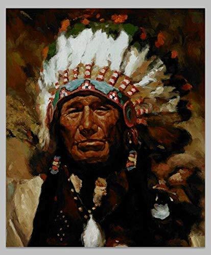 Wjwang kunstdruk op canvas Indiase oude man met veren Portrait Pop Art canvas oude mannen, decoratieve poster en prints Wall Art Foto voor de woonkamer 50x60cm No Frame Pc762