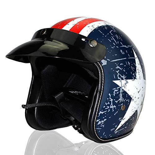 Mangen Jethelm Motocross Helm Motorradhelm Mopedhelm Vespa Helm (Blau + Weiß, M)