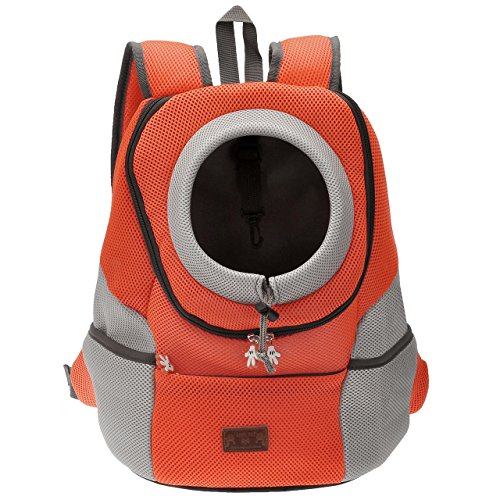 Mogoko Cat Dog Backpack Carrier, Puppy Pet Front Pack with Breathable Head Out Design and Double Mesh Padded Shoulder for Outdoor Travel Hiking (L, Orange)