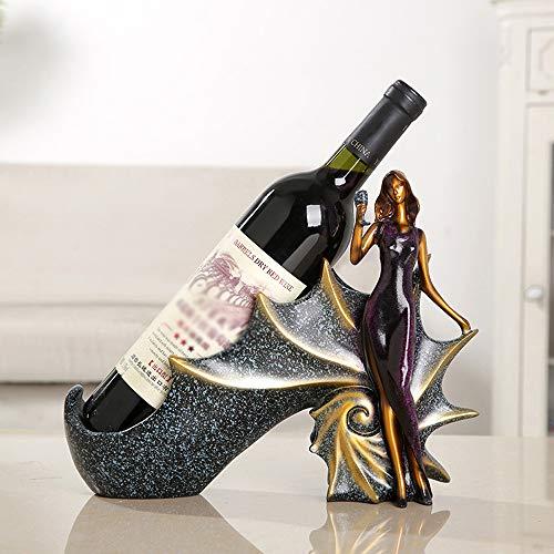 L-M-Yang Soporte de Almacenamiento de Botellas Personaje Estante de Vino Adornos de Resina, Esculturas para el hogar, Decoración Modelo en Miniatura Restaurante Bandeja de Vino Mesa Artesanía