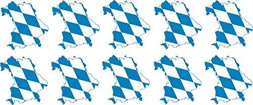 Etaia 5x5 cm - 10 x Mini Auto Autoaufkleber Land Bayern Bavaria Rauten Silhouette Sticker Motorrad Fahrrad