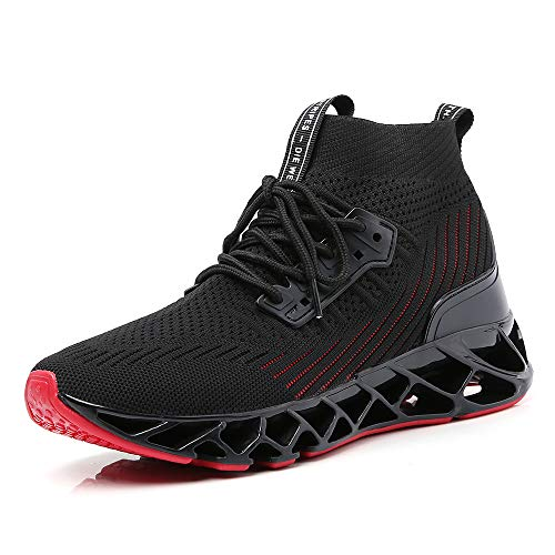 SKDOIUL Men Sport Running Sneakers Tennis Athletic Walking Shoes Mesh Breathable Comfort Fashion Casual Gym Runner Jogging Trainers Black Red Size 11