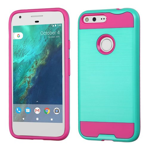 Google Pixel Case, LUXCA Slim [Scratch Resistant] Brush Texture Hybrid Dual Layer Thin Case Cover for Google Pixel (5.0) (Teal Green Pink)