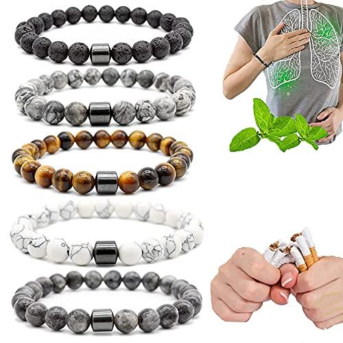 YAYANG Pulsera para dejar de fumar, pulsera antihumo, imán de 8 mm, compañero personalizado, antiansiedad, humo para hombres y mujeres, mejora tu salud (set C)