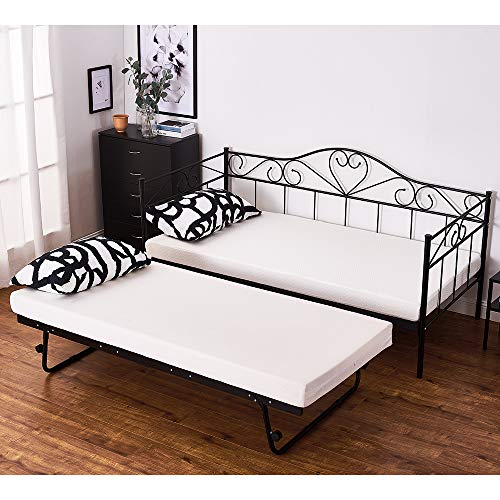 Day Bed Solid Metal Bed Frame 3ft Single Bed Sofa Guest Bed Sustainable Daybed (Black, Daybed+Trundle Set)