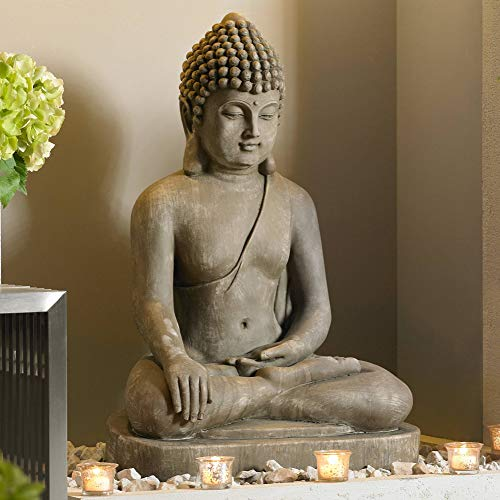 John Timberland Zen Buddha Outdoor Statue 29 1/2' High Floor Sitting Weathered for Yard Garden Lawn