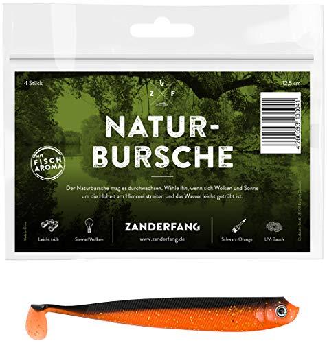 Zanderfang 4 Gummifische zum Zanderangeln mit Gummifisch Naturbursche | schwarz-orange | 12,5 cm