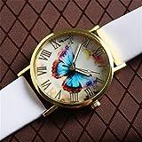 Destinely Frauen Quarzuhr, Butterfly-Muster Edelstahl dekorative Uhr, Multi-Dial-Display und Lederband