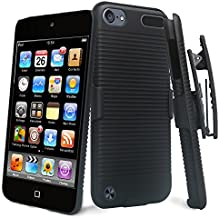 New iPod Touch Case,iPod Touch 6th Generation, iPod Touch 5th Generation Case with Belt Clip Holster [Kickstand] Compatible Cases for Apple iPod 7/6/5 (Hard Case & Holster Combo) - Black